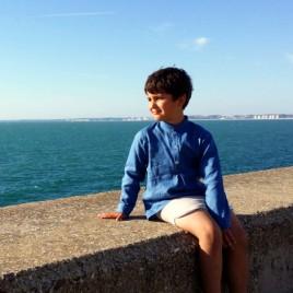 Camisa lino azul klein