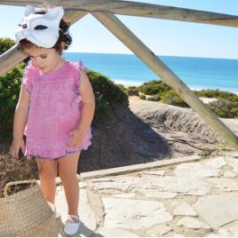 Vestido Bebé niña lino especial fresa o plumeti de tul blanco