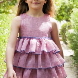 Vestido volantes lino especial Rosa